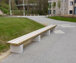 Timber bench with granite plinth