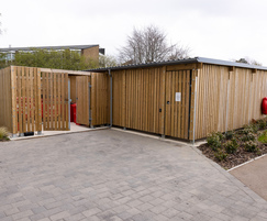 Enclosed bin storage and cycle shelter for campus