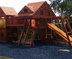 Loose lay rubber surfacing for playgrounds