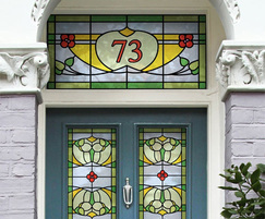 Art Nouveau stained glass window film with house number