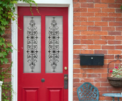 Frosted window film with Victorian style period design