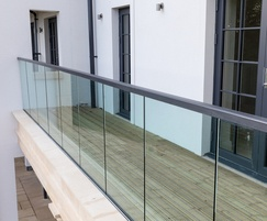 Non slip apartment balcony with glass balustrades