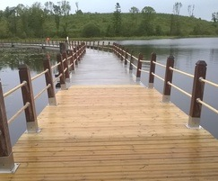 Non slip softwood decking boards used on the boardwalk