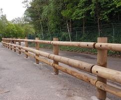 Anti-terrorist timber roadside barriers