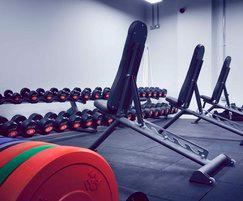 Primal Gym ground level free weights area