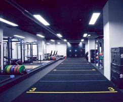 Primal Gym lifting area and sprint track