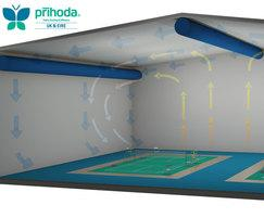 Prihoda badminton hall air flow graphic for fabric duct