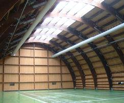 Prihoda fabric ducting in sports hall converted hanger