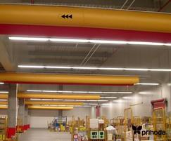Picking and distribution area cooling with fabric ducts