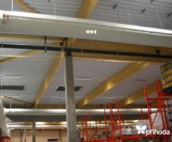 Warehouse storage and distribution fabric duct system