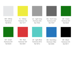 Fabric ducting colours