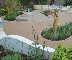 Decorative resin bound in garden-of-rest seating area