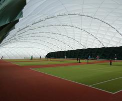 Inside an Air Dome over tennis courts