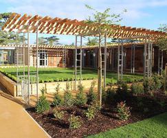 Raised planter beds, Sue Ryder hospice garden