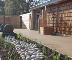 Ornamental planting, resin bound paving