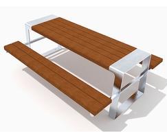 Murton picnic table in FSC hardwood - isometric view
