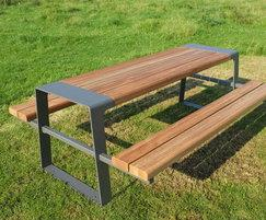 Murton picnic table in FSC hardwood and PPC steel