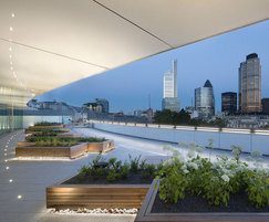 Rooftop terrace of offices at night