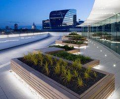 Hidden LED lighting creates dramatic night-time effects