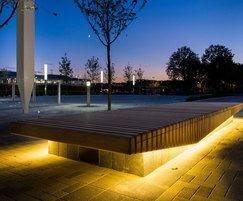 Concealed LED light fittings set beneath timber slats