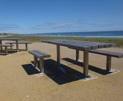 Picnic tables - hardwood slats / stainless steel frame
