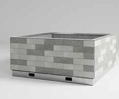 Patchwork granite clad planter