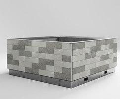 steel framed granite planter