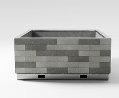 Street planter with granite and stainless steel