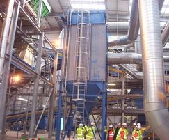 Large reverse jet bag filter in waste recycling plant