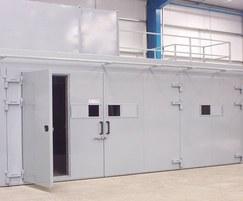 Large acoustic enclosure for metal spraying