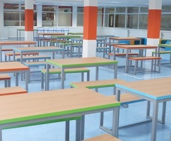 Ackley Bridge college dining area with Formica laminate