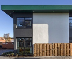 Panels provide a strong contract with the white render