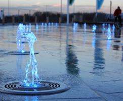 Jet fountain with colour-changing LED lighting