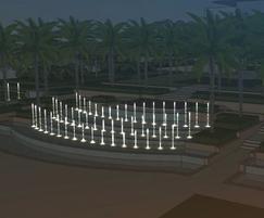 Animated fountain night time lighting simulation