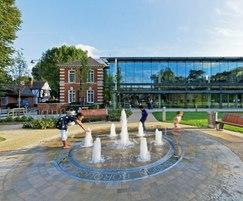 Dry plaza water feature, Enfield Library