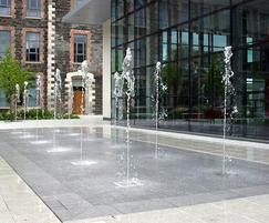 Dry plaza fountain feature, Mossley Mill, Newtonabbey