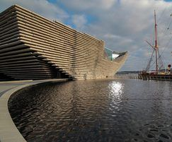 Reflective water feature at the V&A Dundee