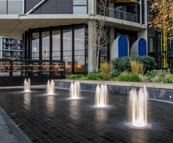 Dry plaza fountains, Riverlight residential development