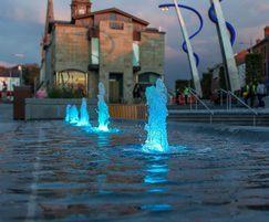 Blue illuminated fountains, Lisburn Town Centre