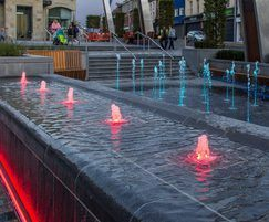 Red illuminated fountains, Lisburn Town Centre