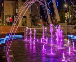 Purple illuminated fountains, Lisburn Town Centre