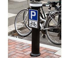 DOR520CP Doric bollard with cycle parking sign