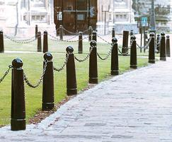 Gunner bollards with eye-bolts and spiked chain link