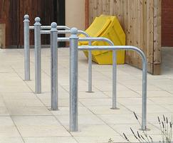 LTB612 cycle stand with curved rail and Trafford cap