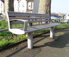 Zenith® powder coated grey steel seat and iroko slats
