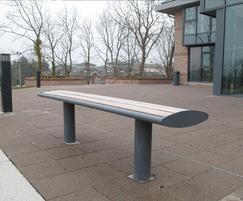 Zenith®  powder coated steel bench with iroko slats