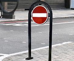District plastic coated black bolt down traffic bollard