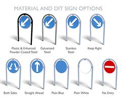 District traffic bollard material with DfT sign options