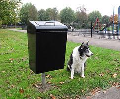LUK745F Lucky steel dog waste bin root fixed in black