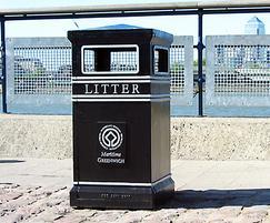 COV702 LR Covent Garden Square litter bin with plaque